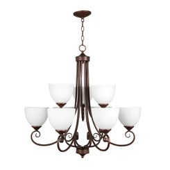 Craftmade 25329-OB-WG Raleigh Two Tier 9-Light Chandelier