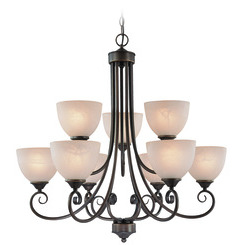 Craftmade 25329-OB Raleigh Two Tier 9-Light Chandelier