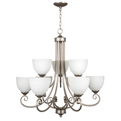 Craftmade 25329-SN-WG Raleigh Two Tier 9-Light Chandelier