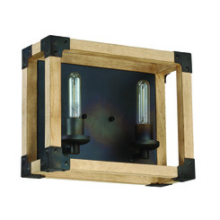 Craftmade 41502-FSNW Cubic 2 Light Vanity in Fired Steel with Natural Wood