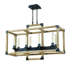 Craftmade 41528-FSNW Cubic 8 Light Chandelier in Fired Steel with Natural Wood