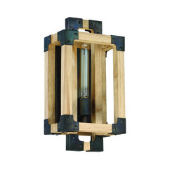 Craftmade 41561-FSNW Cubic 1 Light Wall Sconce in Fired Steel with Natural Wood