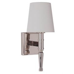 Craftmade 44601-PLN Ella 1 Light Vanity/Wall Sconce in Polished Nickel with White Linen Shade