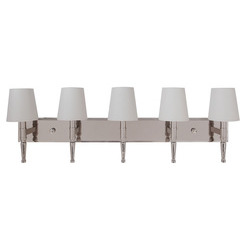 Craftmade 44605-PLN Ella 5 Light Vanity in Polished Nickel with White Linen Shade