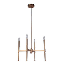 Craftmade 44624-SB Ella 4 Light Chandelier in Satin Brass with White Linen Shade