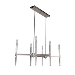 Craftmade 44626-PLN Ella 6 Light Chandelier in Polished Nickel with White Linen Shade