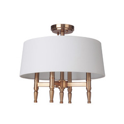 Craftmade 44654-SB Ella 4 Light Semiflush in Satin Brass with White Linen Shade
