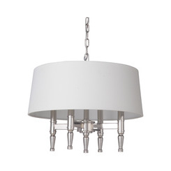 Craftmade 44694-PLN Ella 4 Light Pendant in Polished Nickel with White Linen Shade