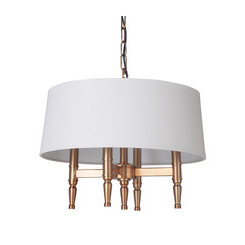 Craftmade 44694-SB Ella 4 Light Pendant in Satin Brass with White Linen Shade