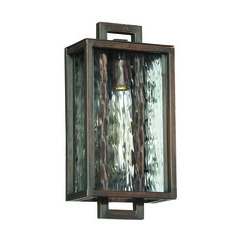 Craftmade Z9802-12 Cubic 1 Light Small Pocket Sconce in Aged Bronze Brushed with Clear Water Glass