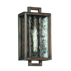 Craftmade Z9804-12 Cubic 1 Light Small Wall Mount in Aged Bronze Brushed with Clear Water Glass