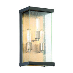 Craftmade Z9912-31 Farnsworth 3 Light Medium Wall Mount in Midnight/Patina Aged Brass with Clear Seeded Glass
