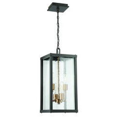 Craftmade Z9921-31 Farnsworth 4 Light Large Pendant in Midnight/Patina Aged Brass with Clear Seeded Glass