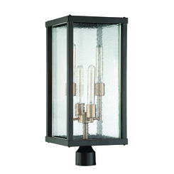 Craftmade Z9925-31 Farnsworth 4 Light Large Post Mount in Midnight/Patina Aged Brass with Clear Seeded Glass
