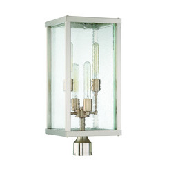 Craftmade Z9925-32 Farnsworth 4 Light Large Post Mount in Brushed Nickel/Patina Aged Brass with Clear Seeded Glass