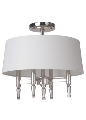 Craftmade 44654-PLN Ella 4 Light Semiflush in Polished Nickel with White Linen Shade
