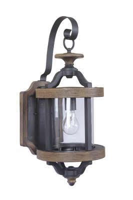 Craftmade Z7914-14 1 Light Medium Wall Mount - Textured Black/Whiskey Barrel